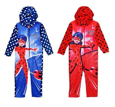 Girls Miraculous Ladybug All In One Ladybug Hoody All In One Nightwear Pyjamas