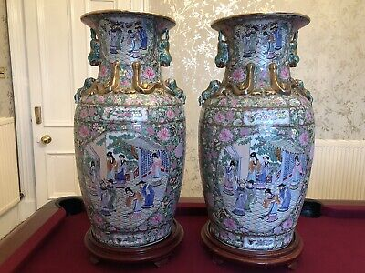Pair of Large Huge Chinese Vases Oriental Wooden Bases Famille Rose Canton