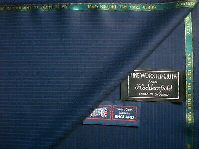 100/% SUPER 100's WOOL WORSTED SUITING FABRIC MADE IN HUDDERSFIELD ENGLAND–3.4 m