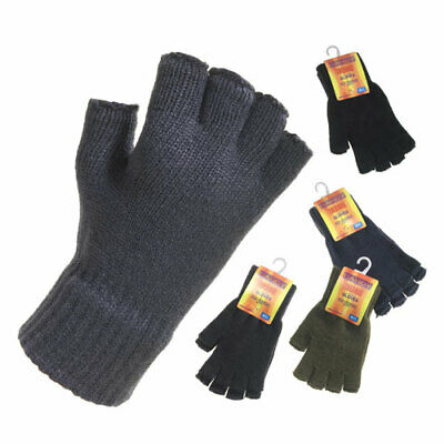 Mens Thermal Knitted Fingerless Gloves Assorted Colours