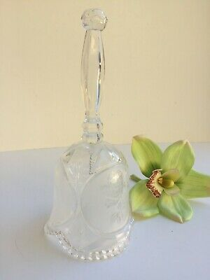 Vintage Crystal Frosted Floral Roses Glass Dinner Bell Great Condition 1980s