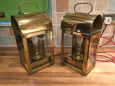 Pr. Vintage Brass Ships Bulkhead Cabin Lamps Lights Maritime Marine Nautical