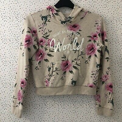 Girls H&M Oatmeal Floral What An Awesome World Slogan Hoodie Jumper US 14+