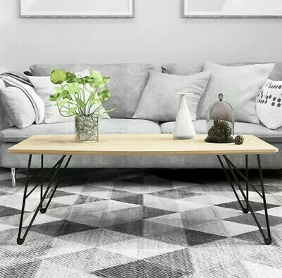 Industrial Coffee Table, Black Metal Hairpin Legs