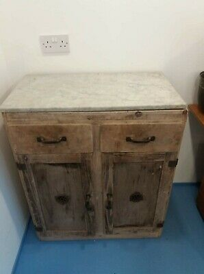 Antique Victorian Stripped Wooden Kitchen Cupboard with unattached Marble Top