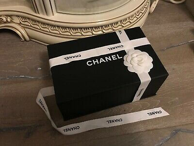 Chanel magnetic gift Box black with Chanel ribbon and camellia