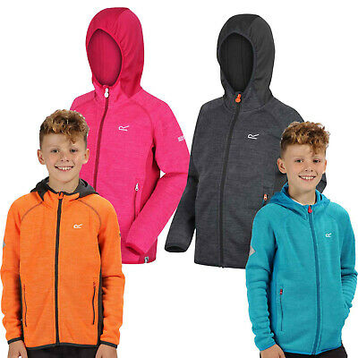 Regatta Kids Hooded Fleece Jacket Boys Girls Winter Outdoor Camping Top Dissolve