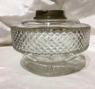 Hinks And Sons Victorian Cut Crystal  Glass Oil Lamp.