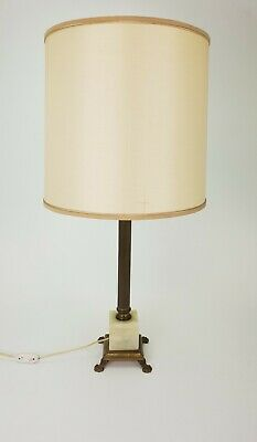 Antique French Brass Table Lamp Onyx Marble Base Lion Feet E/0364