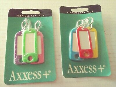 2 new packs Axxess+ Flexible Key Tags Keychain ID Label Luggage Name Tag