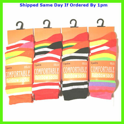12 New Pairs Girls Stripe Multi Colour Every Day Socks Size 4-7 Smart Casual