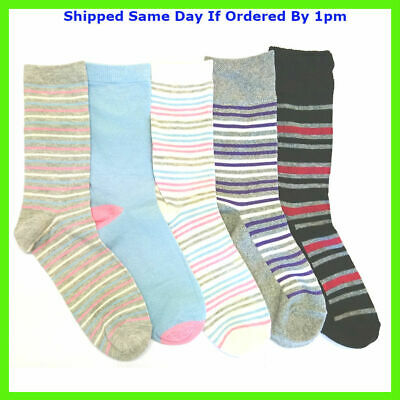 12 Pairs Girls Striped Multi Colour Everyday Novelty Socks Size 4-7 Smart Casual