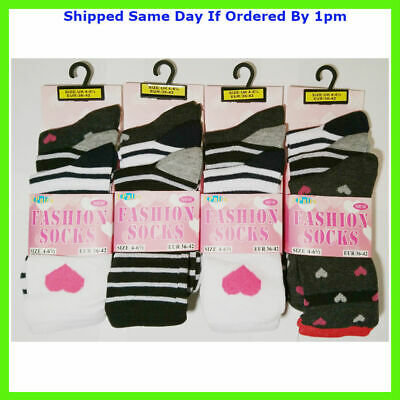 3 New Pairs Girls Stripe Multi Colour Daily Socks Size 4-7 Smart Casual