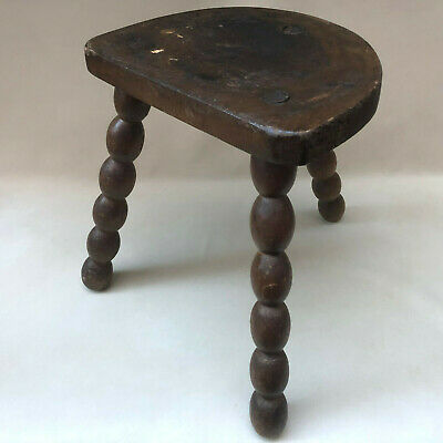 Vintage French Rustic Wood 3 Leg Milking Stool,Turned Wood Legs & Half Moon Seat