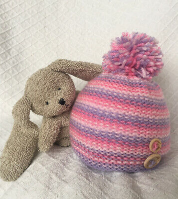 Hand Knitted Baby Bobble Hat 0-3 months Girls Pinks And Lilac Gift Photo Prop