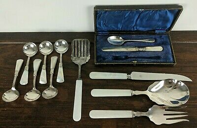 Mother of Pearl Handled Silver Plated Serving Set - Mostly Birks EPNS Sheffield