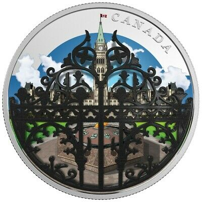 CANADA  THE QUEEN`GATE PARLIAMENT HILL Convex Coloured  SILVER 30$ 2018