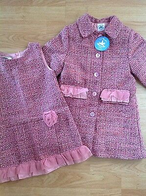 Charabia french designer girls coat and matching pinafore age 4 years very small