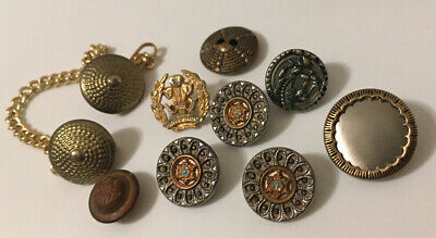 Mixed Lot Antique Vintage Metal Buttons Spider Web Victorian Picture Filigree ++
