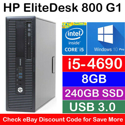 HP EliteDesk 800 SFF i5-4690 3.5Ghz 8GB Ram 240GB SSD Win 10 Desktop PC Computer
