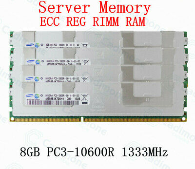 For Samsung 32GB 4X8GB PC3-10600R DDR3 1333MHz 240pin 1.5V ECC REG DIMM RAM RHN