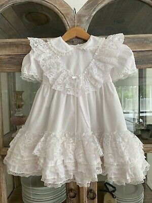 1970's vintage girl white Jolene party dress with lots of frills & flounce 3 yrs