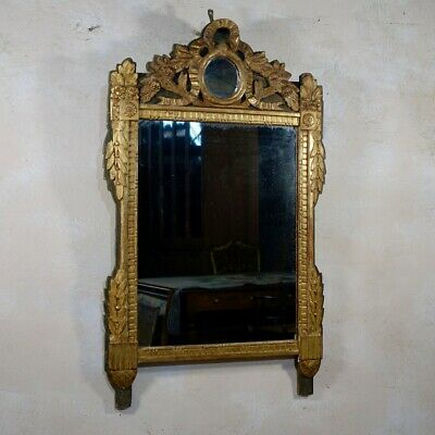 A Large Antique Louis XVI Giltwood Mirror Wall Overmantel Gilded French