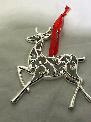 Lenox Silver Sparkle And Scroll Christmas Ornament NIB New Reindeer silverplate