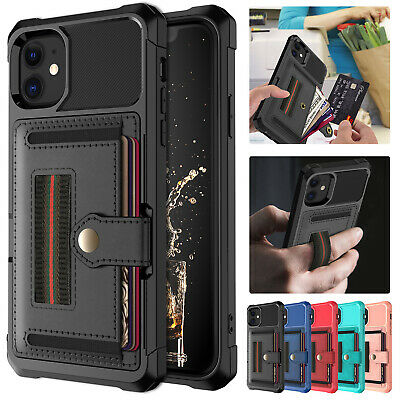 For iPhone 11 Pro Max XS XR 8+ 7 Case Shockproof Leather Stand Card Holder Cover