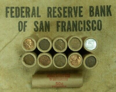 1x Wheat Penny Roll Cent Lincoln Pennies Ends Vary Lot 50C Mixed Dates San Fran