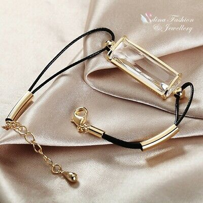 18K Yellow Gold Filled Glass Crystal Rectangle Cut Black Leather Chain Bracelet