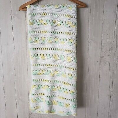 Vintage Baby Blanket Toddler Crib Bedding Handmade Gender Neutral Crochet Throw