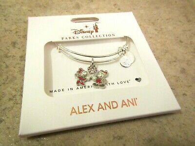 New 2019 Disney Parks Alex And Ani Christmas Mickey Minnie Charm Bracelet Bangle