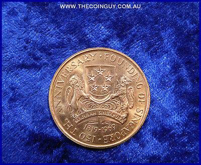 1969 Singapore Founding of Singapore 150 Dollars Gold Coin In Case