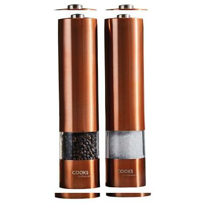 Cooks Professional Electric Automatic Salt & Pepper Mill Set with Copper