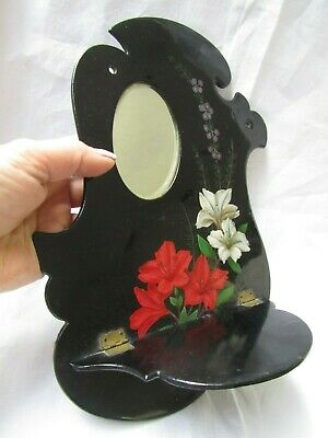 Antique French Lacquered Hand Painted Lily Mirror Wall Shelf Bracket 1890's