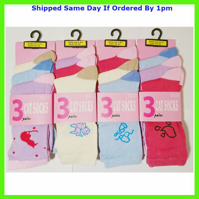 3 New Pairs Girls Doodle Multi Colour Everyday Socks Size 4-7 Smart Casual
