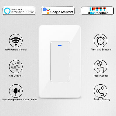 Smart Button Light Switch WiFi Wall Switches Timer Work With Alexa Google Home