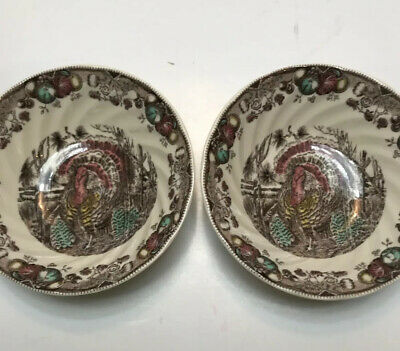"""Johnson Brothers HIS MAJESTY Turkey 6"""" Fruit Cereal Soup Bowls Set of 2 New"""