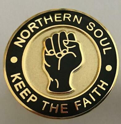 45 RPM BLACK 22MM DIA NORTHERN SOUL BADGE GOLD OR SILVER PLATE