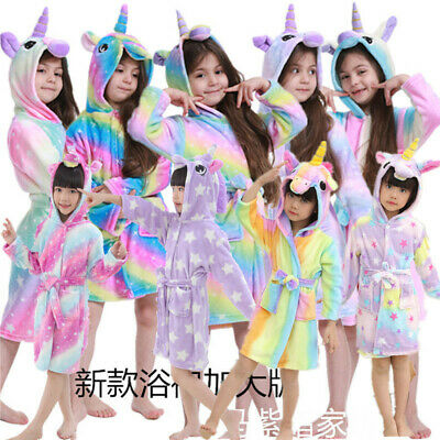 Kids Unicorn Bathrobe Sleepwear Pajamas Soft Fleece Bath Robe Toddler Boys Girls