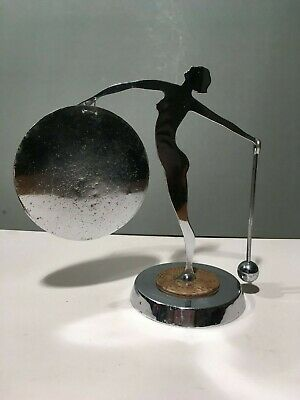 Art Deco Chrome Lady With Gong