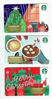 STARBUCKS Gift Cards Holiday 2019 Christmas Tree - LOT of 3 - Collectible Empty