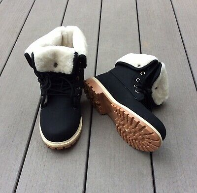 Womens/ Ladies Faux Fur Lined Hiking Boots Black Size 8/ 41 NWB