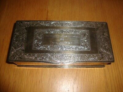 Military interest vintage SILVER PLATED BOX for cigarettes/ cards TRINKET BOX