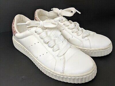 Girls Gym Shoes Leather Size 8 Justice Youth Clean White Pink Athletic Sneaker