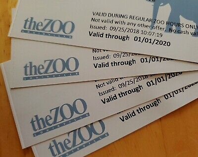 THE LOUISVILLE ZOO 4 GENERAL ADMISSION TICKETS GOOD THROUGH 1/1/2020 Kentucky