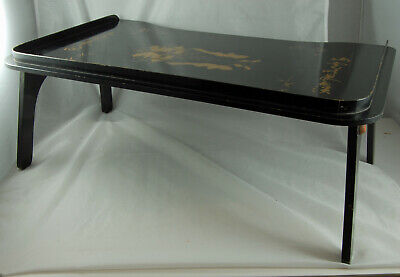 Gorgeous Vintage Folding Wooden Bed Tray Lap Tray with Oriental Design