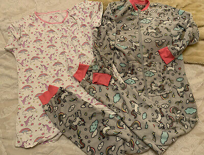Size 10/12 All In One Bed Fleece  / Lounge Suit , PJ's And Nightie . Unicorn