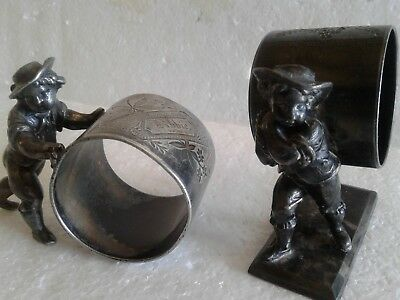 Two Antique Victorian Sp Meriden Rogers Figural Boys Cherubs With Napkin Rings L